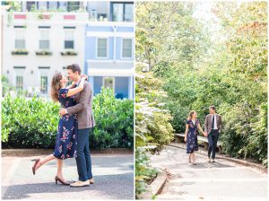 DC Couple strolls through Meridian Hill Park for engagement session.