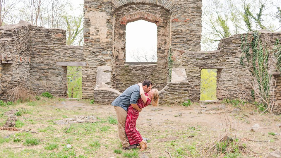 Couple kisses inside old church ruins in Harpers Ferry, West Virginia.