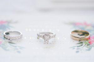 Wedding Ring Macro sitting on a wedding invitation photo taken in Loudoun County, Virginia.