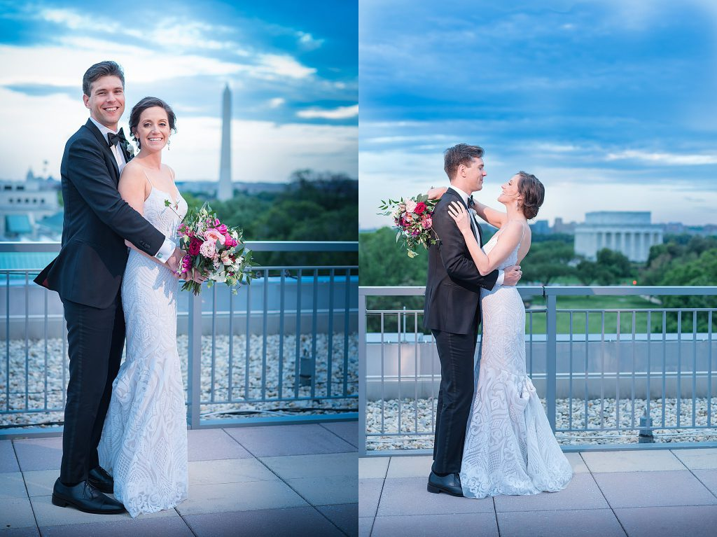 Off Camera Flash with one speedlite in Washington DC, Rooftop Wedding Reception
