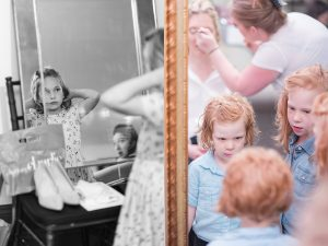 Flower girls getting ready with the Bridesmaids
