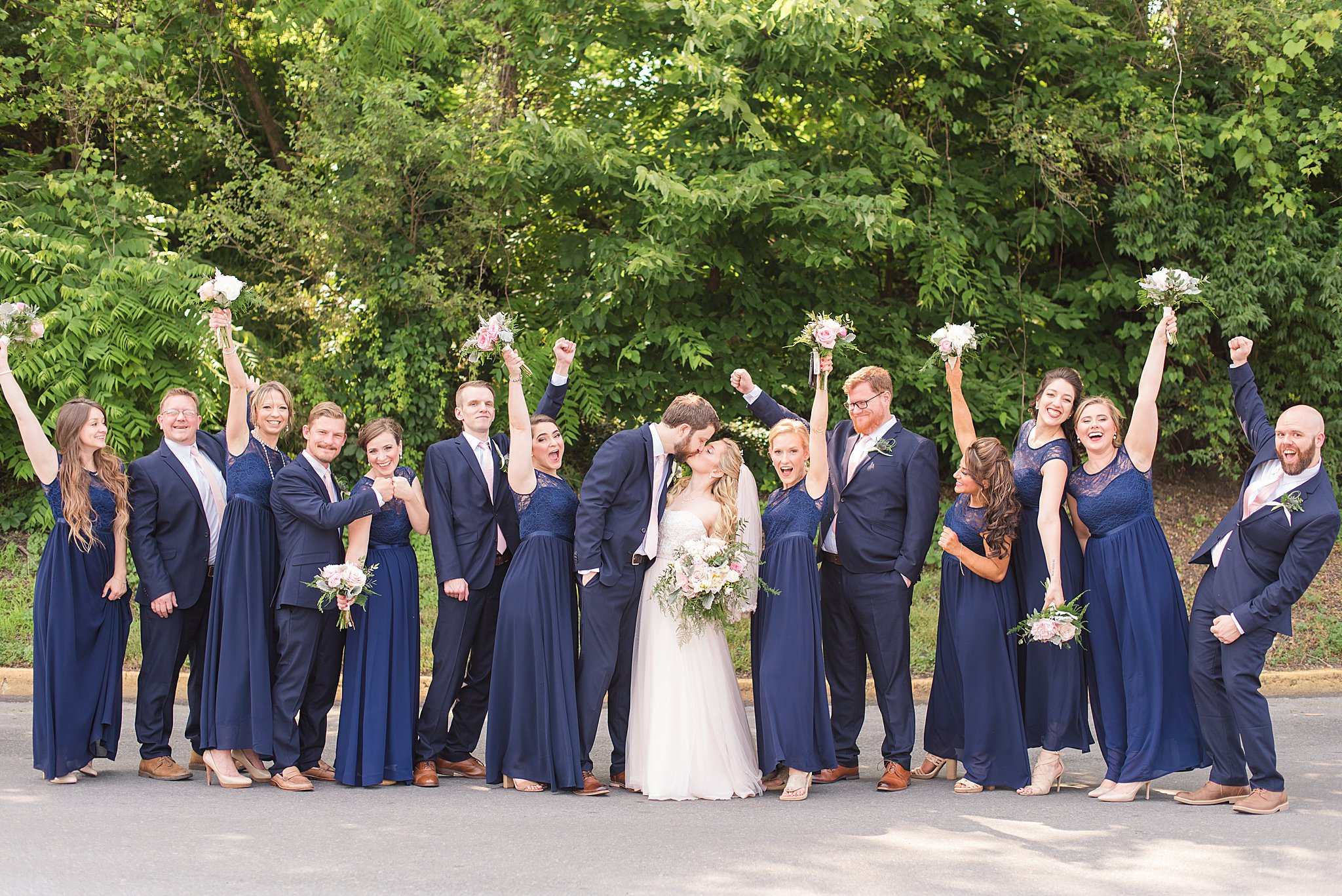 Bridal Party in Navy and Blush Pink. Summer Wedding in West Virginia