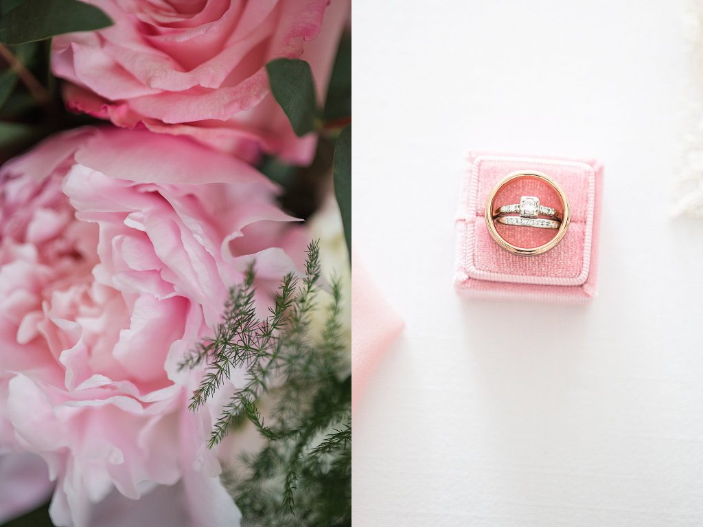 Wedding rings set in a pink ring box and a bouquet of peonies.