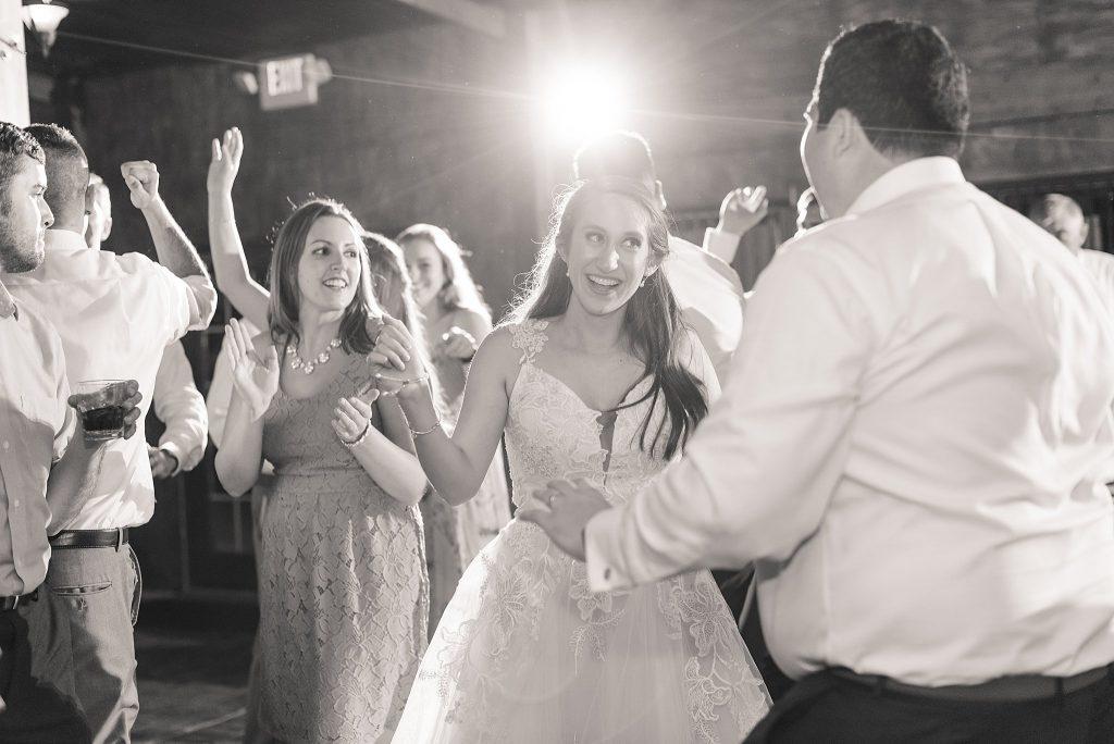 Rustic Barn Reception Bride and Groom Dancing