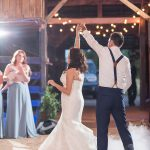 Rustic Barn Reception First Dance with Fog machine