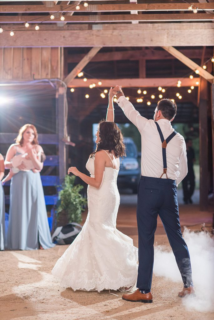 Rustic Barn Reception First Dance with Fog machine