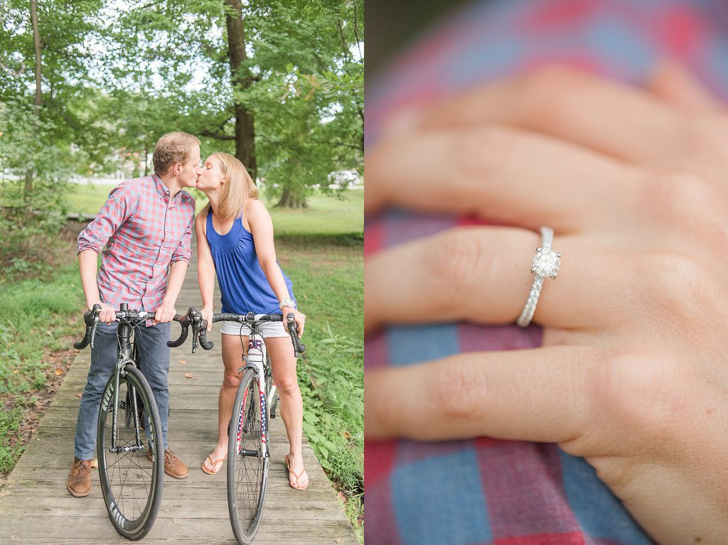 Couple kissing while on a bike ride and a beautiful engagement ring
