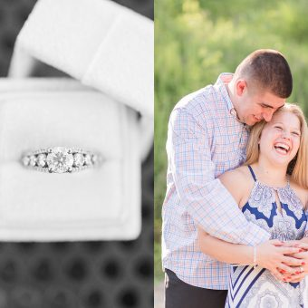 Couple in Northern Virginia vineyard and an engagement ring