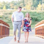 Couple crossing a bridge in Occoquan Regional Park - Engagement Session