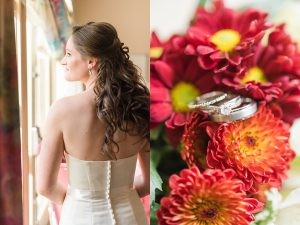 Bride looking out the window. Strapless wedding dress with buttons going down the back. Macro photo of wedding rings sitting in yellow and red colored bouquet.