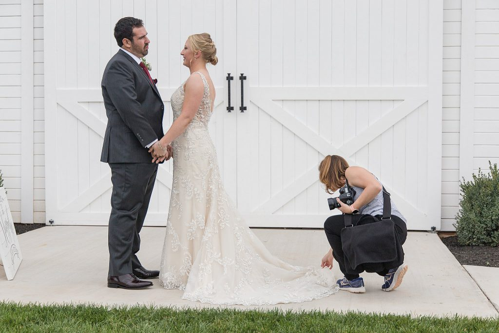Loudoun County Photographer behind the scenes during a First Look on a wedding day