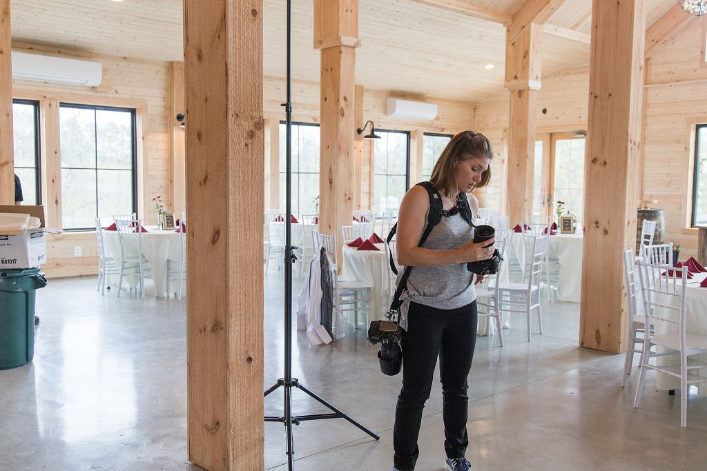 Loudoun County Photographer Behind the Scenes Setting up indoor lighting for The Barn at Willow Brook