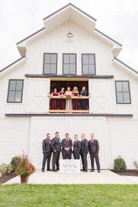 Bridal Party at The Barn at Willow Brook white barn