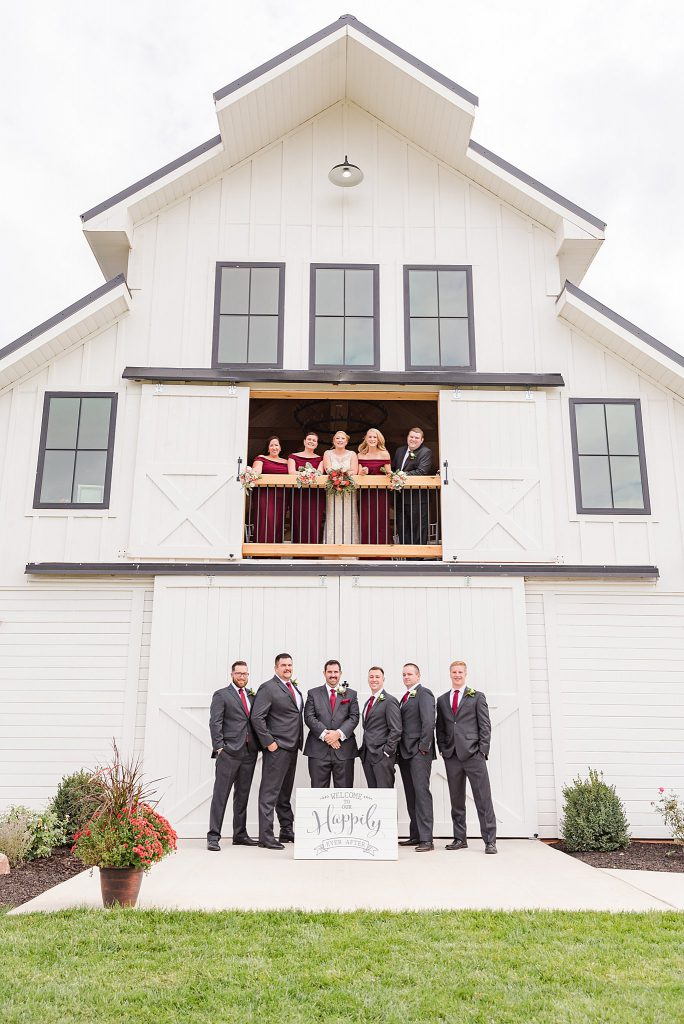 Bridal Party at The Barn at Willow Brook white barn