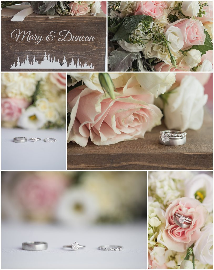 blush pink bridal bouquet wooden card box