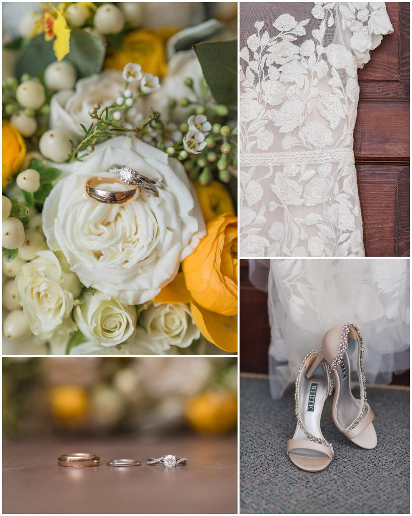 Yellow Bridal Bouquet lace wedding dress neutral colored heels