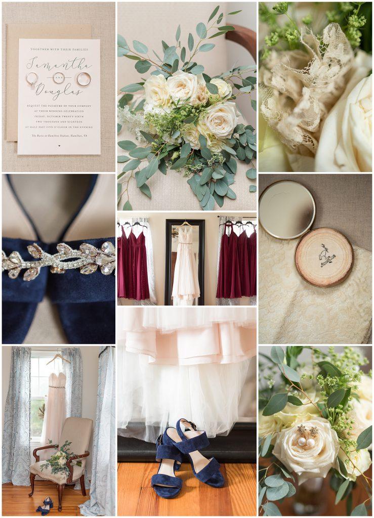 Navy Blue Heels, White Bridal Bouquet, Burgandy Bridesmaids Dresses