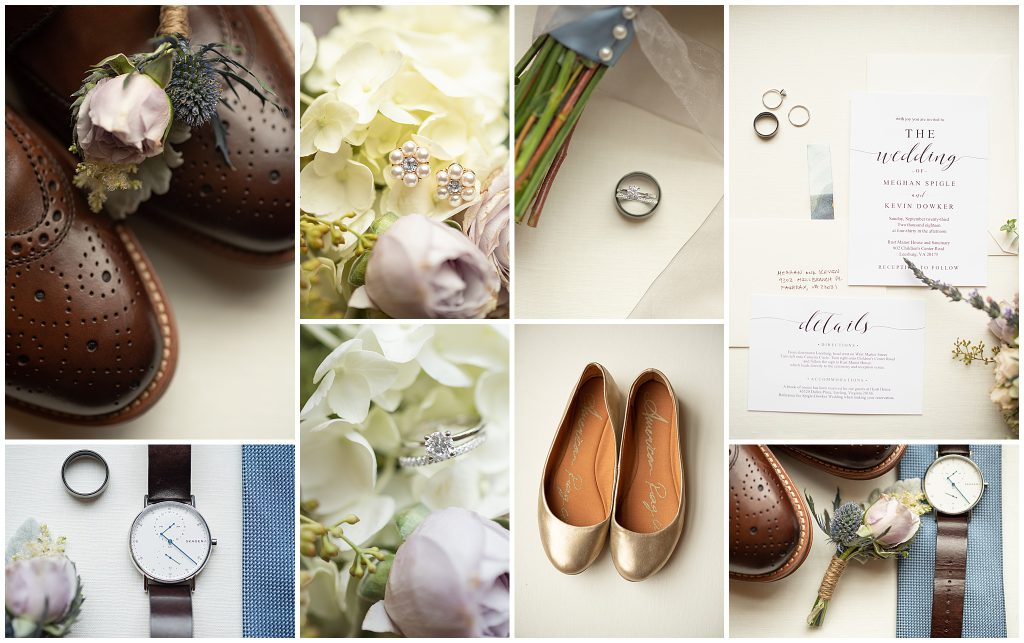 Slate Blue and Off White Wedding Details